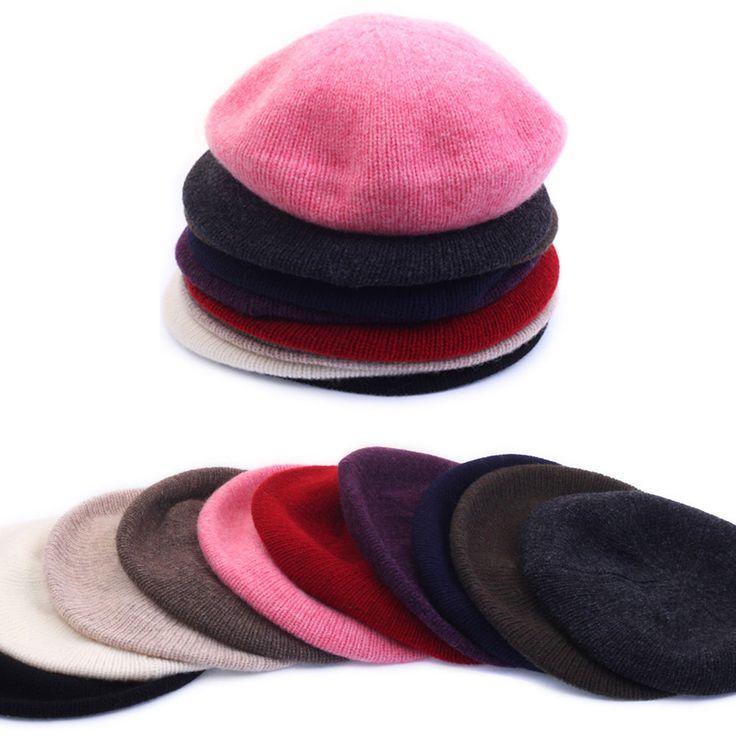 Womens Ladies Wool Knitwear Beret French Artist Beanie Warm Soft Solid Cap Hat #hellobincom #WoolKnitwearBeret