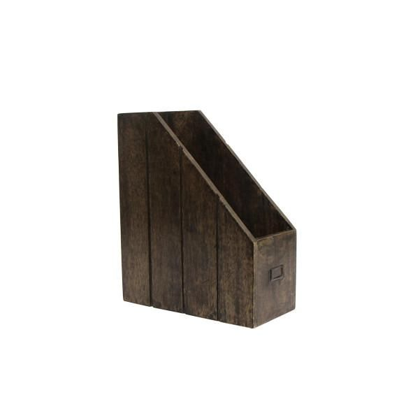 Mangowood Solid dark wooden desk file box essential tabletop accessory in the office.
