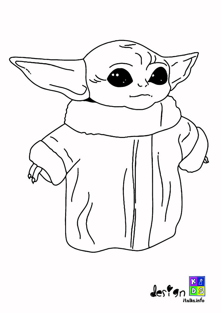 Baby Yoda coloring book pages di 2020
