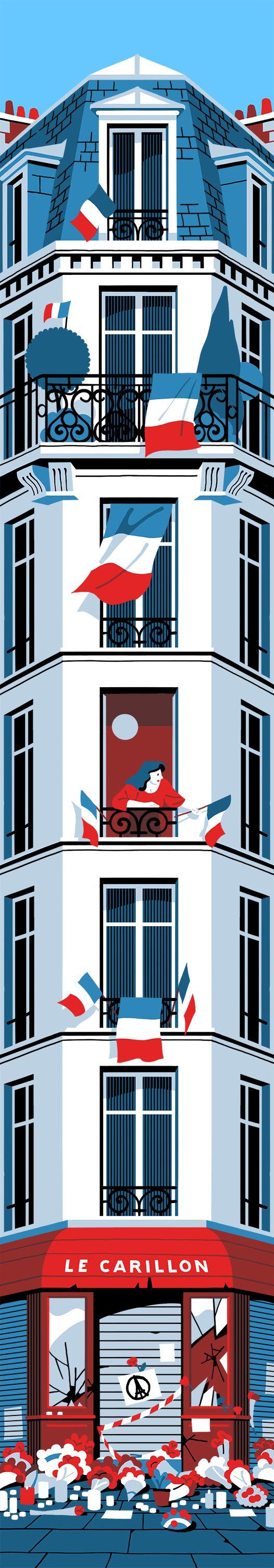 Dessin d'un Paris avec le symbole de l'envie de vivre dans l'unité nationale avec des drapeaux