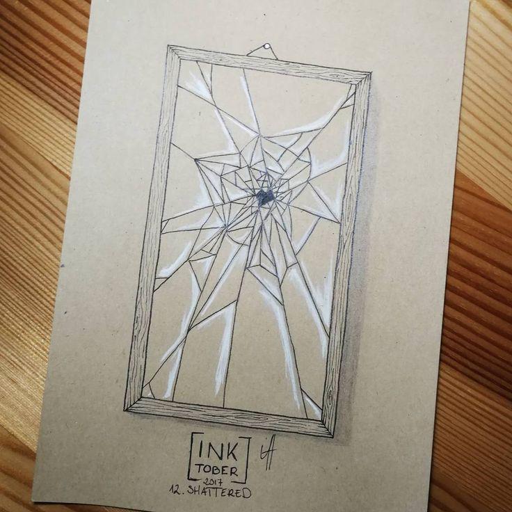 Day 12 #shattered #inktober #inktober2017 #ink #mirror