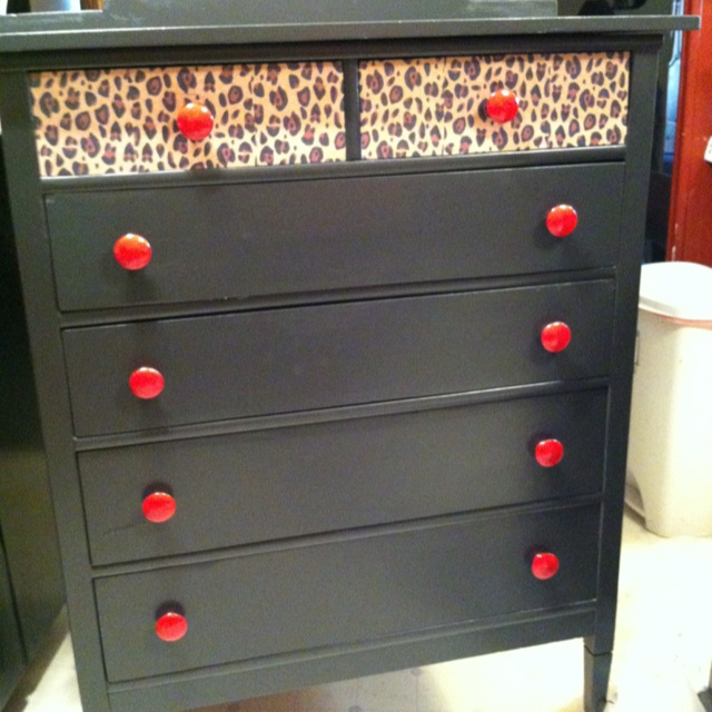 Chest of drawers for the home. Cheetah, black, and red. Hello college!!!!