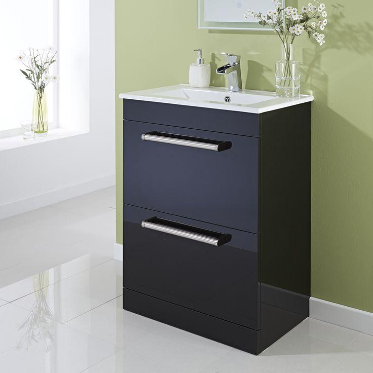600mm Floor Standing 2-Drawer Vanity Unit Gloss Black - Image 2