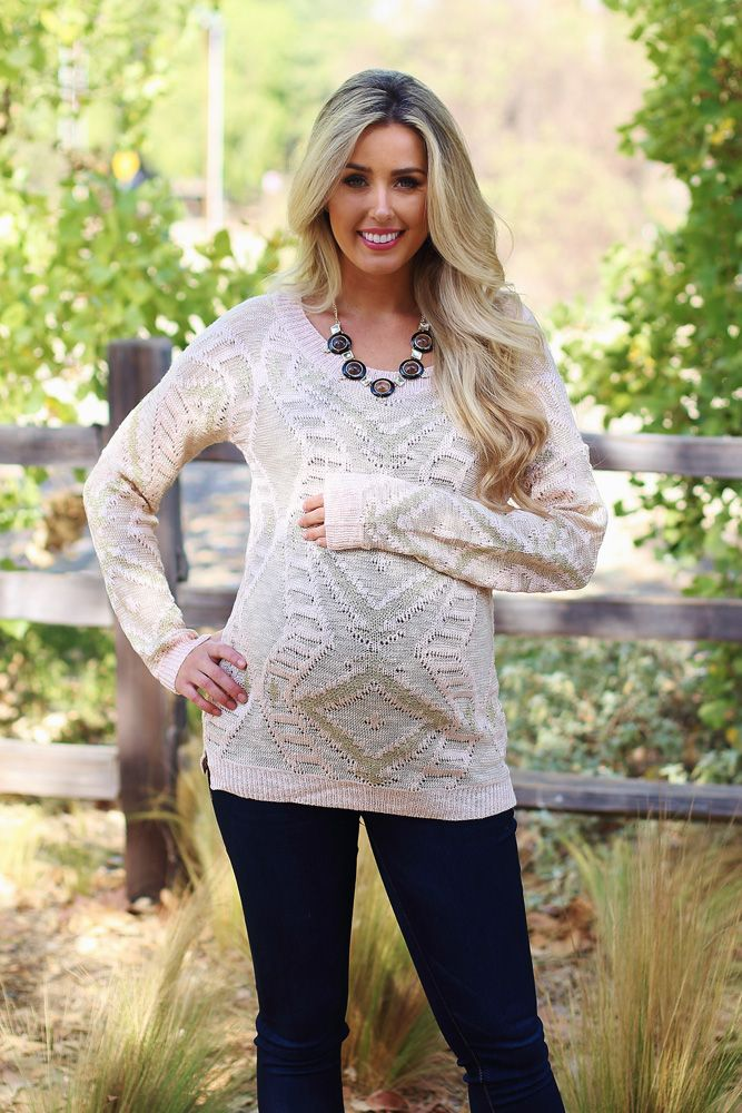 Light-Pink-Gold-Accent-Knit-Maternity-Sweater