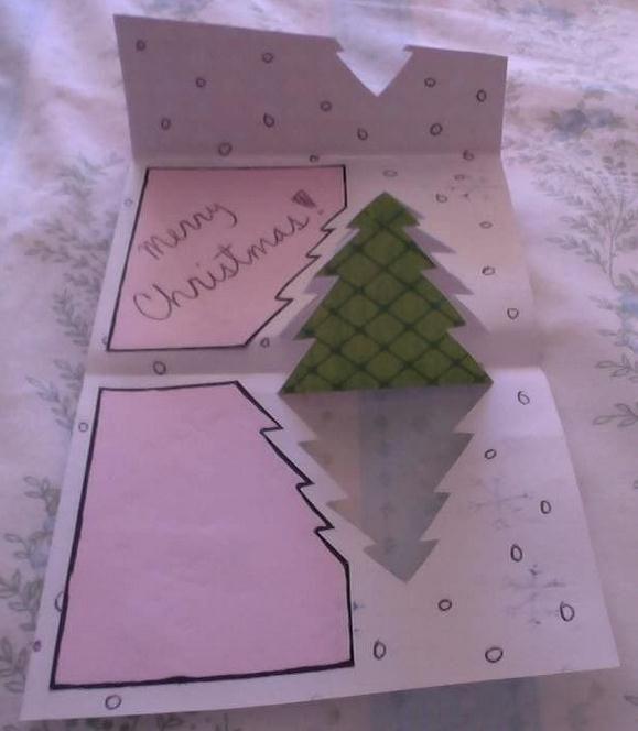 Создание простой творческий перспектива открытка Рождественская открытка - бумага искусство сети