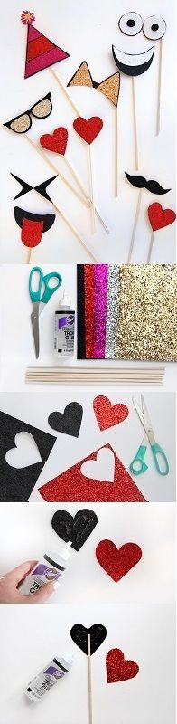 Ring in 2015 with these adorable DIY Emoji Photo Booth Props! -- Instructions: Cut emoji shapes out of stiff felt and glitter vinyl. Assemble with glue. Glue dowel on the back. -- Created by Jenni Radosevich