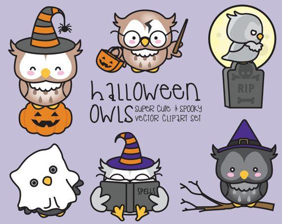 Premie Vector Clipart - Kawaii Halloween uilen - Cute Halloween uilen Clipart Set - hoge kwaliteit vectoren - Kawaii Clipart