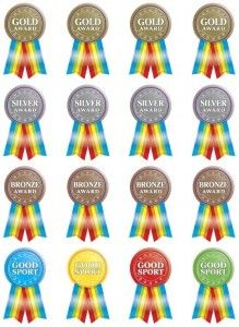 Sticker Pack – Merit Awards Six identical sheets of stickers, 16 stickers per page (96 in total) by R.I.C. Publications