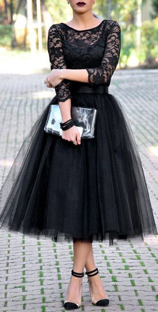 Black A-Line Tulle Skirt More