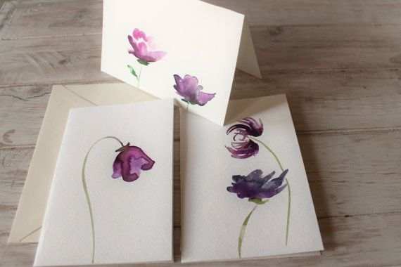 Watercolor Greeting Cards Birthday Cards Purple by AnnikaLikes
