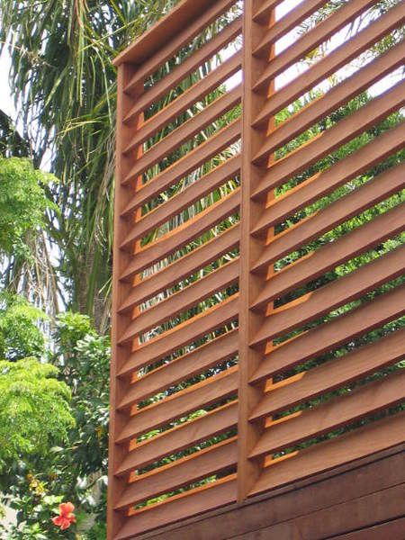 Crafted timber screen fences pinterest gardens for Wooden privacy screen ideas