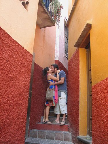 Callejón del Beso (Kiss Alley), Guanajuato, México. The legend of the kiss alley said that couples who kiss on the third step have guaranteed seven years of happiness. This is a ritual for all couples who visit this romantic city.