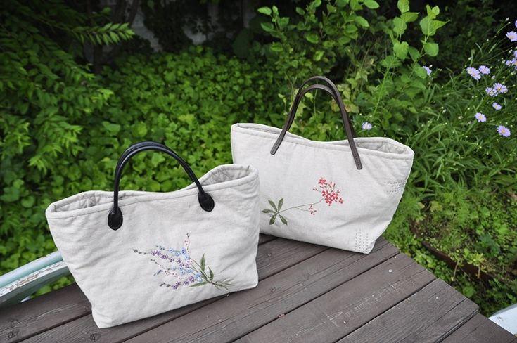 핸드메이드,야생화자수,  린넨가방