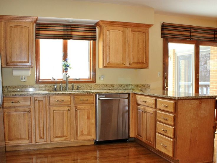 Traditional Kitchen With Raised Panel Hardwood Floors