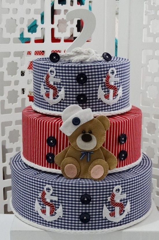 Bolo Fake Urso Marinheiro e numero de madeira - Infinita Arte for Baby - 3E690