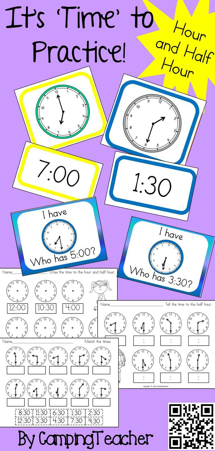 38 best telling time images on pinterest teaching math teaching its time to practice activities for telling time to the hour and half hour robcynllc Images