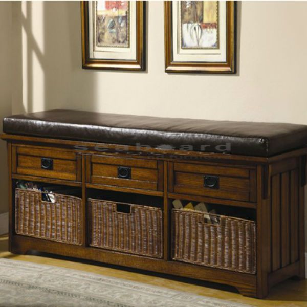 Coaster Oak Large Storage Bench With Baskets 501060 I Would Buy This For My Living  Room