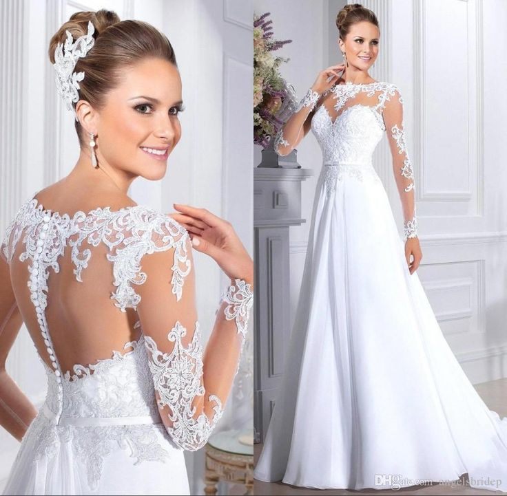 Plus Size Wedding Dresses Sleeves See Through Back Appliques Belt A Line Vintage Wedding Dresses Chiffon Skirt White Bride Camo Dresses Affordable Wedding Dresses Online Big Ball Gown Wedding Dresses From Angelsbridep, $113.57| Dhgate.Com