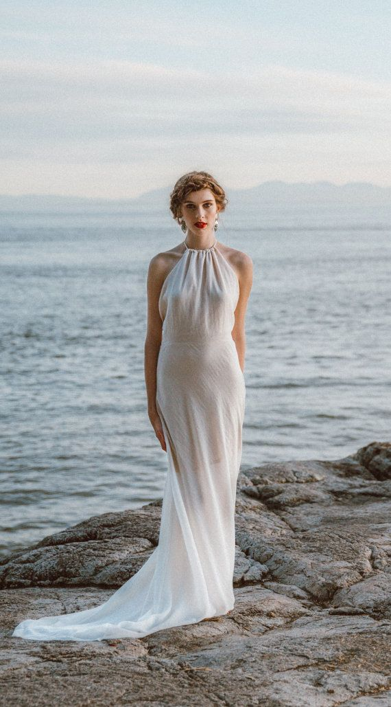 Elegant Boho Backless Wedding Dress in Ivory Cotton. Etsy Seller: Elika in Love