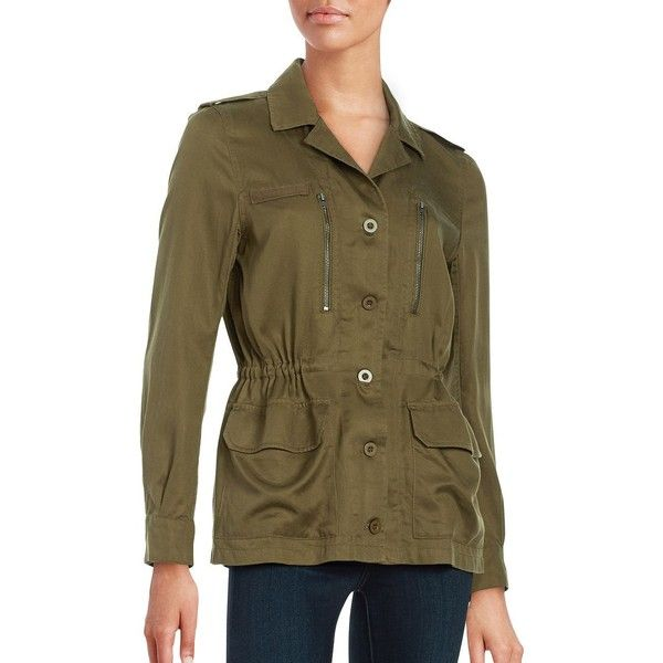 French Connection Button-Front Utility Jacket ($178) ❤ liked on Polyvore featuring outerwear, jackets, green, brown utility jacket, utility jacket, lightweight jacket, light weight jacket and french connection jacket