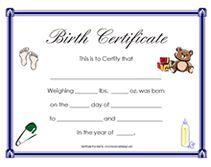 free newborn baby birth certificates