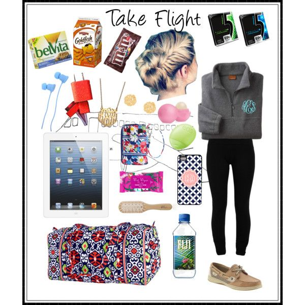 Flight Essentials by lauryntamia on Polyvore featuring LnA, Vera Bradley, BaubleBar, Eos, H&M, Philip Kingsley, Candie's, Nixon and Sperry