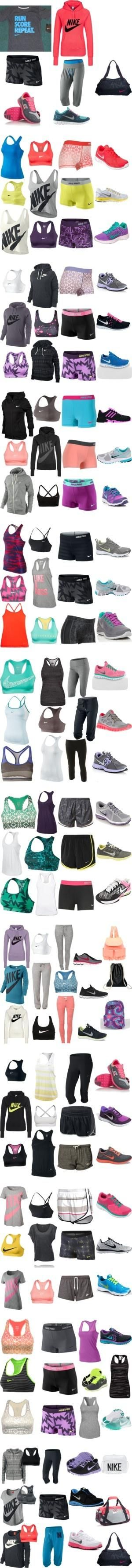 Nike Running Outfits Nike Pro workout clothes for Women | Cute Sport Bras | Running Tights | Workout Shorts | Tank Tops @ http://www.FitnessGirlApparel.com