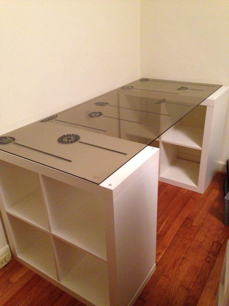 Desk made from two ikea kallax shelves ikea wall stickers for Ikea desk with shelf