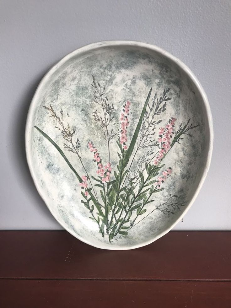 1970's Lovely Salt Marsh Pottery Oval Bowl Pink Impressed Flowers in Light Green #ArtsCraftsMissionStyle
