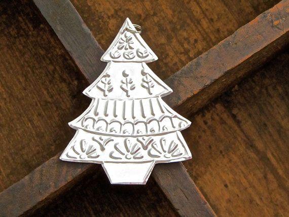 5 Metal Christmas Trees, Handmade Christmas Ornaments, Mexican Tin Foil Decorations