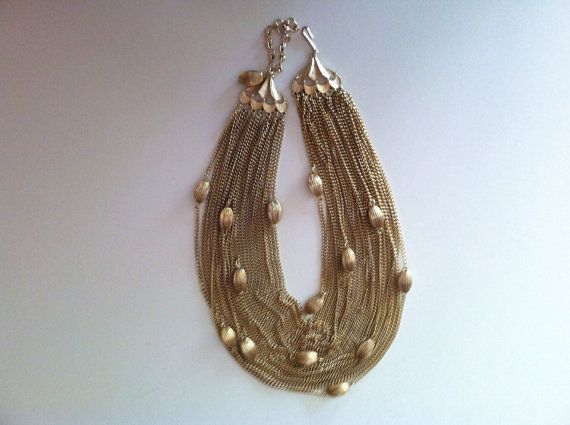 Vintage statement necklace torsade gold chain choker by erikamara, $28.00