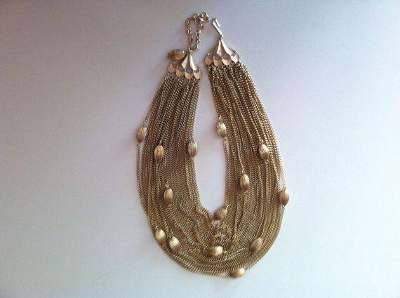 Vintage statement necklace torsade gold chain choker by erikamara, $28.00
