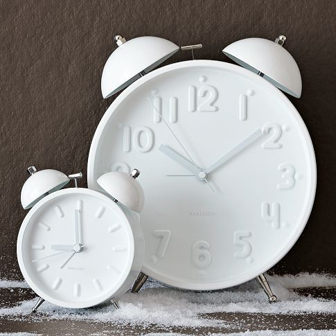 Ceramic White alarm clock from West Elm, $34 for the small one.