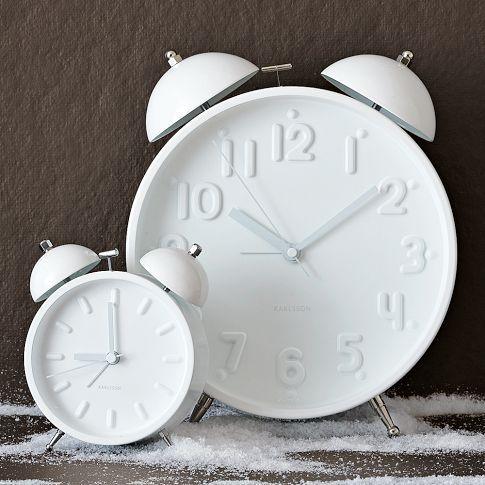 Ceramic White Alarm Clocks: Westelm, Alarm Clocks, Old Clocks, Bright Color, Wall Clocks, Guest Rooms, West Elm, White Ceramics, Modern Clock