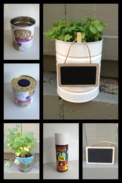 Recycle your baby formula tins! Make herb pots!... finally have enough tins!