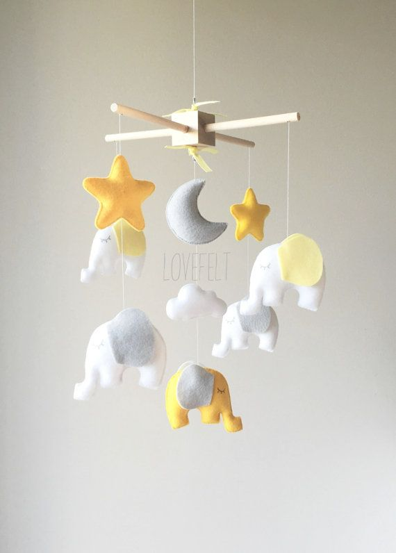 READY TO SHIP Baby mobile - Elephant Mobile - Neutral mobile - Mobile elephant