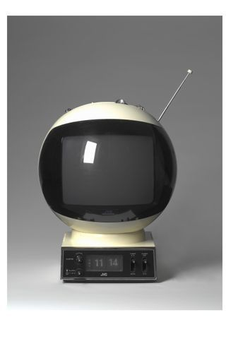 JVC Videosphere - a JVC CRT television that was shaped in the form of a space helmet. It was first introduced in 1970, and was sold up until the early-1980s.