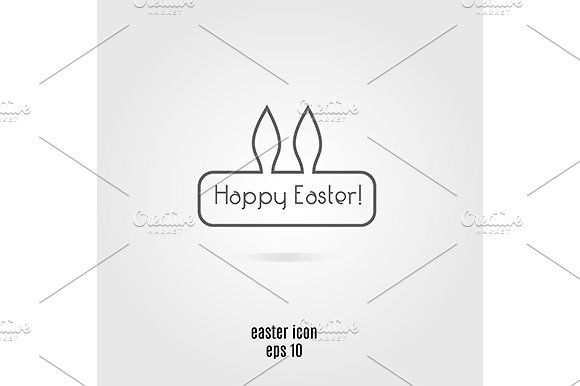 Easter icon with bunny ears. eps png by KSU's Little Shop on @creativemarket