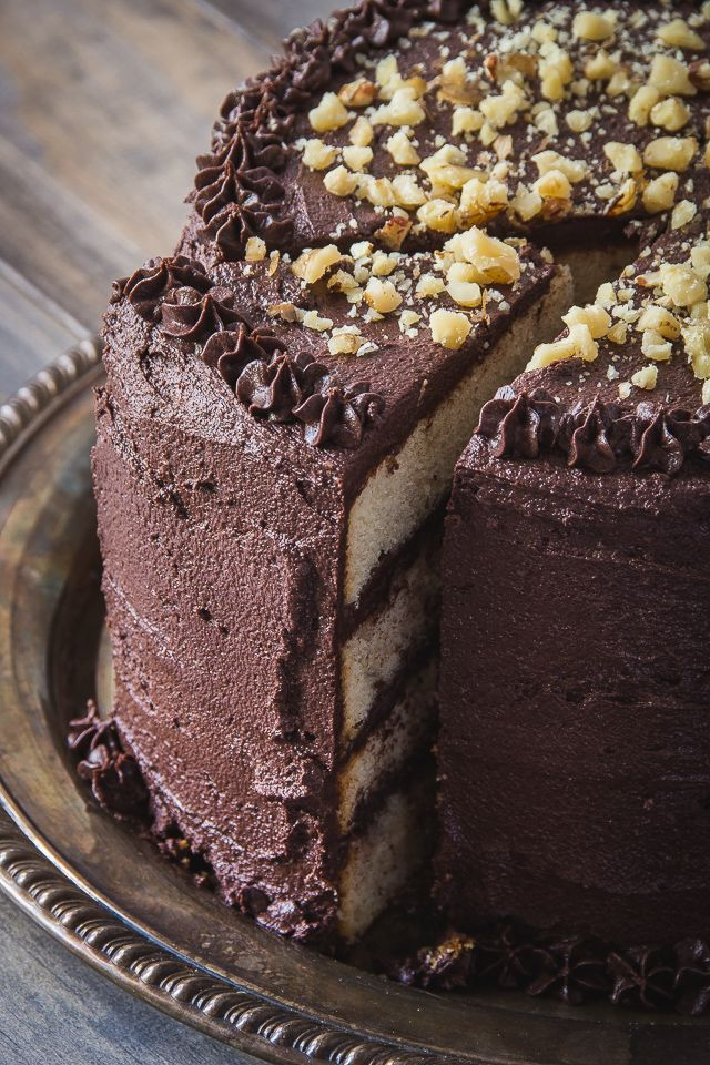 Banana Layer Cake with Chocolate Bourbon Frosting recipe at Peaches Please! Wow... how absolutely incredibly delicious would would this be...