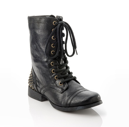 Awesome black leather boots with studded heel.