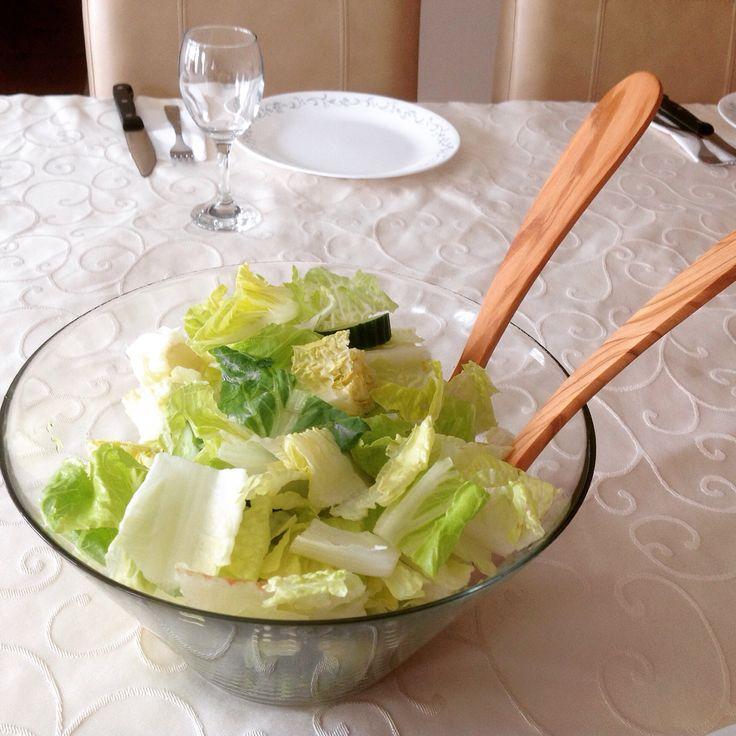 Olive wood salad servers made by Arteinolivo #olivewood #design #saladservers #madeinitaly #arteinolivo #salad #wood