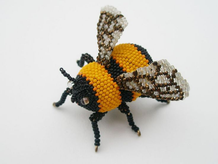 Bumble Bee, Brooch.  Glass seed beads, wood, wire, nylon thread, sterling silver…