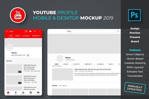 Youtube Profile Mockup Youtube Design