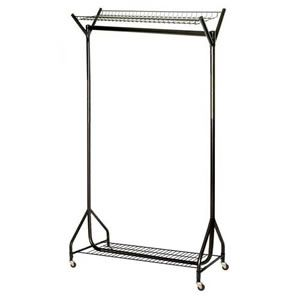 Unique Spacesaving 4' Superior All Black Clothes Rail with Top & Bottom Shelves http://www.caraselledirect.com/_/unique_spacesaving_4_superior_all_black_clothes_rail_with_top_bottom_shelves.1826-1
