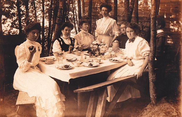 Edwardian ladies enjoying tea