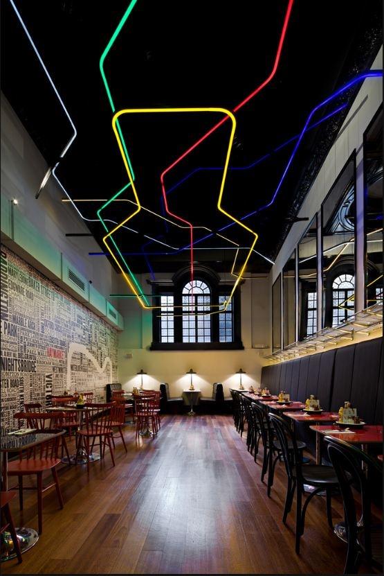 neon light ceiling