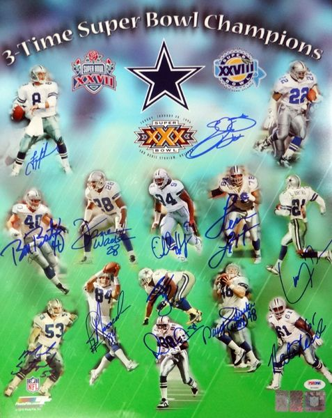 Dallas Cowboys 3 Time Sb Champions Autographed 16x20 Photo