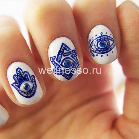 этнические узоры на ногтях коротких фото