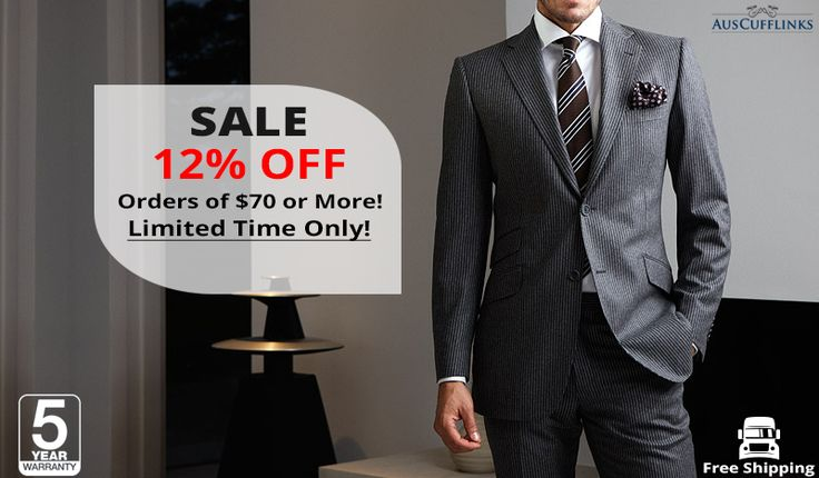 Get 12% OFF on Men's Accessories by Shopping for $70 at AusCufflinks. Just buy online, your favourite Ties, Cufflinks and Pocket Squares and get 12% OFF for orders of $70 or more. FREE SHIPPING + 5 YEAR WARRANTY!