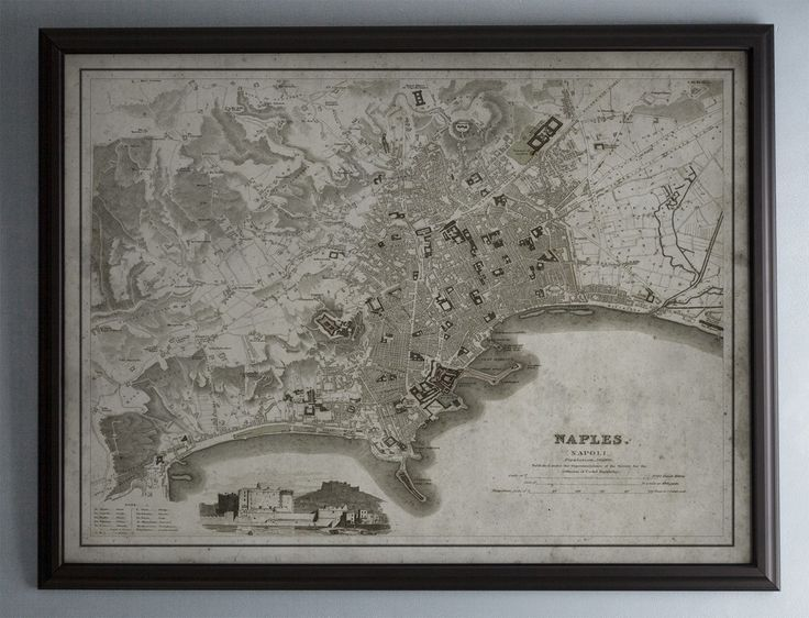 Naples Map: Vintage Map of Naples, Italy Circa 19th C.
